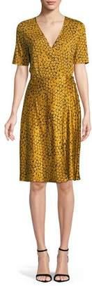 c4af1eb4ce9f7 Diane von Furstenberg Short-Sleeve Floral-Print Flared Wrap Dress