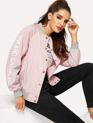 Shein Button Up Raglan Sleeve Letter Bomber Jacket