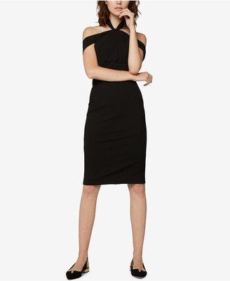 Fame and Partners Off-The-Shoulder Halter Dress $295 thestylecure.com