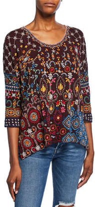 Johnny Was Zora Embroidered Scoop-Neck 3/4-Sleeve Top