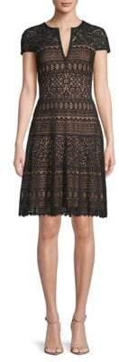 Tadashi Shoji Short-Sleeve Embroidered Fit-and-Flare Dress