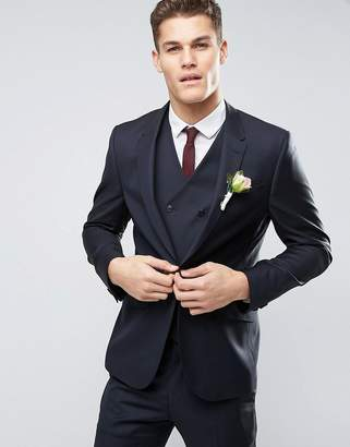 Asos DESIGN Wedding Slim Suit Jacket in Dark Navy 100% Wool