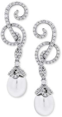 Arabella Cultured Freshwater Pearl (8mm) & Swarovski Zirconia Swirl Drop Earrings in Sterling Silver