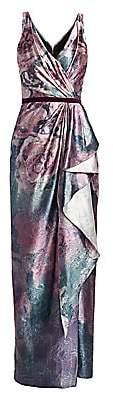 Marchesa Women's Draped Metallic Floral Gown