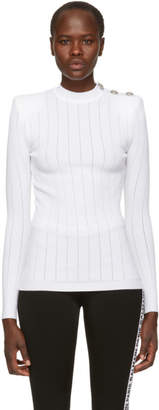 Balmain White Rib Knit Sweater