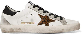 Golden Goose Superstar Distressed Leather, Suede And Leopard-print Calf Hair Sneakers