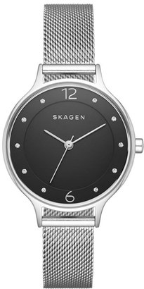 Skagen 'Anita' Crystal Index Mesh Strap Watch, 30mm $125 thestylecure.com