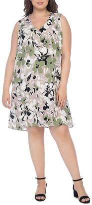 473ccc901c38a Bobeau B Collection by Curvy Iban Floral-Print Shift Dress