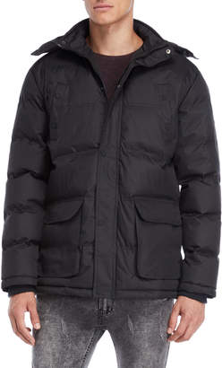 Soul Star Faux Fur Trim Hooded Quilted Coat