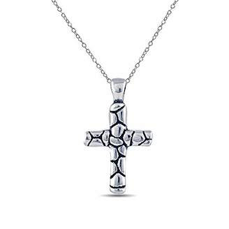 Charmsy Sterling Silver Jewelry Cross Antique Pendant with Cable Chain for Women 30 MM