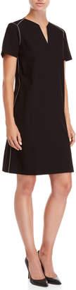 Lafayette 148 New York Black Ezra V-Neck Shift Dress