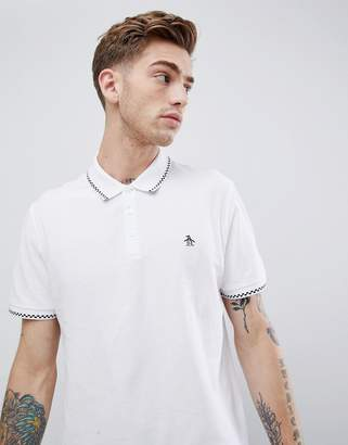 Original Penguin check tipping polo slim fit embroidred logo in white