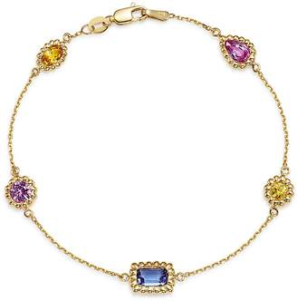 Bloomingdale's Multicolor Sapphire Beaded Station Bracelet in 14K Yellow Gold - 100% Exclusive