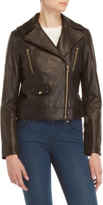 Cole Haan Black Leather Moto Jacket