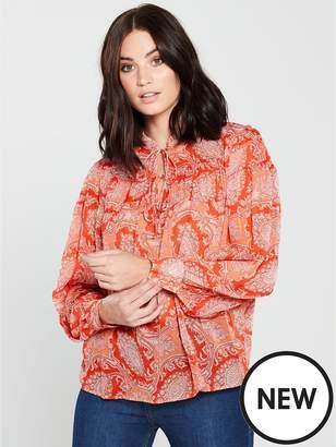 MANGO Paisley Print Blouse - Orange