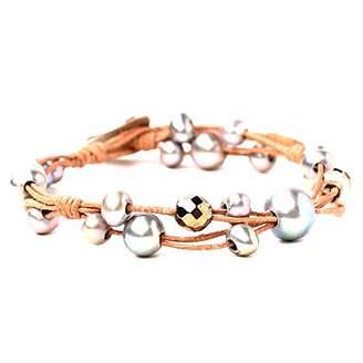Chan Luu Freshwater Cultured Pearl Single Wrap Bracelet on Beige Leather (Brown Mix)