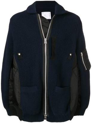 Sacai oversized ribbed knit jacket