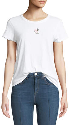 Rag & Bone Crewneck Short-Sleeve Cotton Tee w/ Flower Embroidery