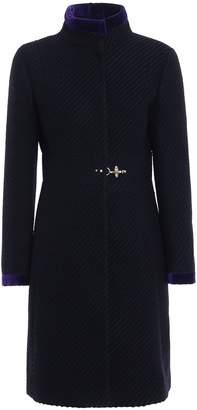 Fay Two-tone Jacquard Wool Blend Coat