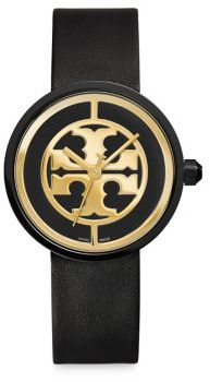 Tory Burch Tory Burch Reva Goldtone Stainless Steel & Leather Strap Watch/Black