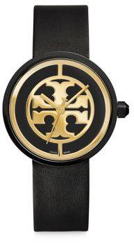 Tory BurchTory Burch Reva Goldtone Stainless Steel & Leather Strap Watch/Black