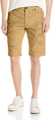 Southpole Men's Short Twill Shorts with Multiple Horizontal Rips and Cuffing