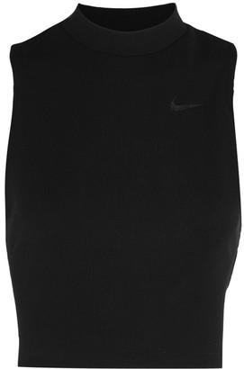 Nike - Cropped Ribbed Dri-fit Stretch-jersey Tank - Black $40 thestylecure.com