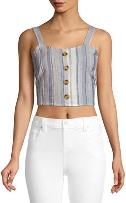 Only Stripe-Print Cropped Top