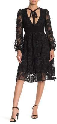 Cynthia Rowley Harlow Tie Front Lace Long Sleeve Midi Dress