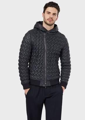 Giorgio Armani Embroidered, Napped Spanish Merino Shearling Blouson Jacket
