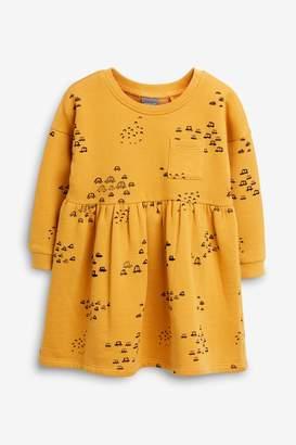 Next Girls Ochre Sweat Dress (3mths-7yrs) - Yellow