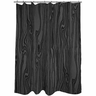 "Thumbprintz Wood Grain Large Scale Black Shower Curtain, 71"" x 74"""
