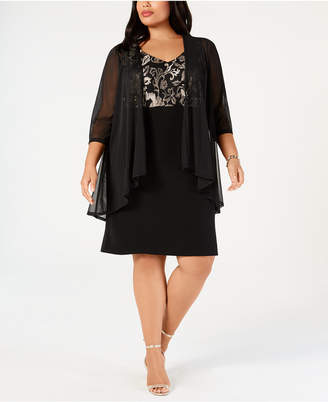 Connected Plus Size Metallic Embroidered Dress & Mock Jacket