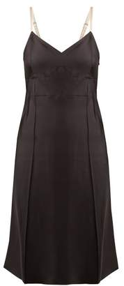 Helmut Lang V Neck Satin Slip Dress - Womens - Black