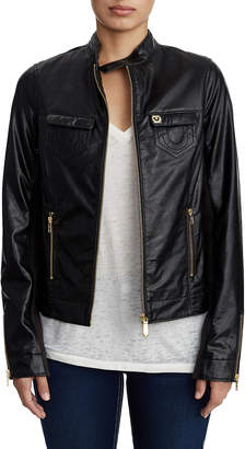 True Religion WOMENS VEGAN LEATHER JACKET