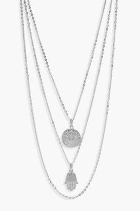boohoo Layered Horoscope & Hamsa Hand Necklace