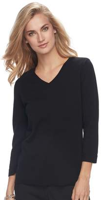 Croft & Barrow Women's V-Neck Jersey Sweater