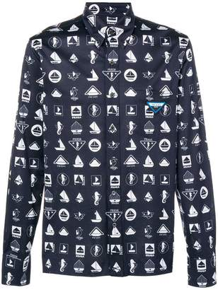 Prada graphic logo buttondown shirt