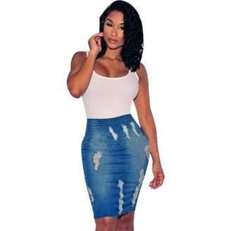 2524d5085cee Liraly Women Stretch Bodycon Pencil High Waisted Hole Denim Jeans Short  Mini Skirt (S)