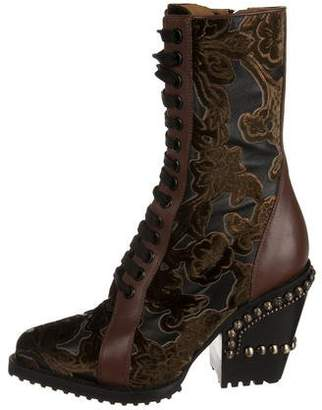 Chloé Rylee Baroque Velvet Combat Boots