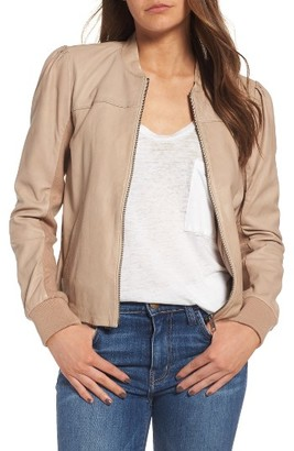 Women's Hinge Shrunken Leather Bomber Jacket $299 thestylecure.com