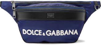 Dolce & Gabbana Logo-Appliquéd Leather-Trimmed Shell Belt Bag