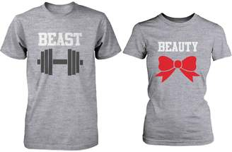 365 Printing Matching Couple Shirts - Beauty and Beast Grey Cotton Graphic T-shirts