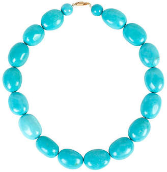 One Kings Lane Vintage Oval Turquoise Bead Necklace - N.P.Trent Antiques