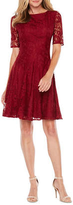 Danny & Nicole Short Sleeve Lace Floral Fit & Flare Dress