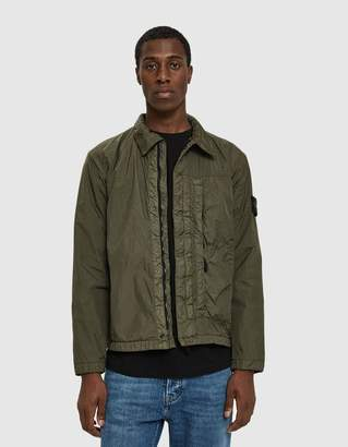 Stone Island Garment Dyed Crinkle Reps Light Overcoat in Olive