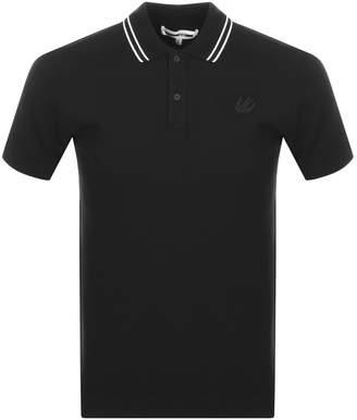 McQ Tipped Polo T Shirt Black