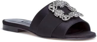 Manolo Blahnik Martamod black satin slip-on flats