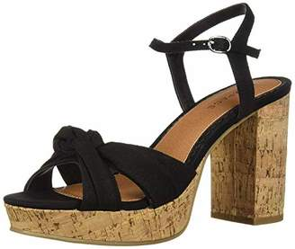 Rampage Women's Marcia Peep-Toe Chunky Heel Sandal with Back Strap and Bow Detail Heeled