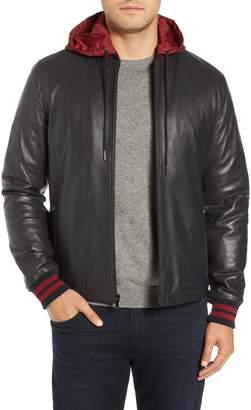 Bugatchi Hooded Leather Bomber Jacket